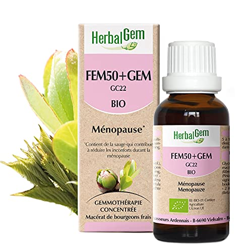 HerbalGem | Fem50+Gem Bio | Atténue les désagréments de la ménopause | Complexes de Gemmothérapie Concentrée | 30 ml