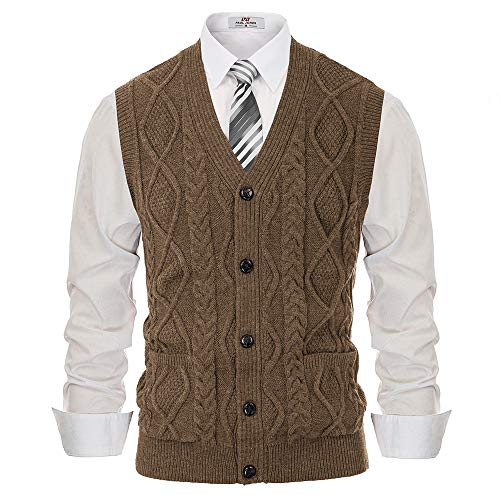 Men's Cable Sleeveless Knit Cardigan V-Neck Button Down Sweater Vest Coffee M