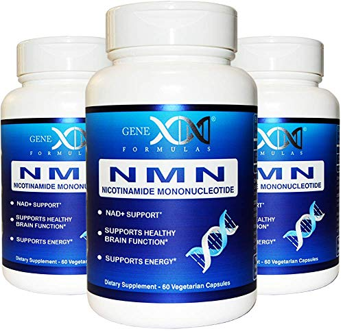 NMN Stabilized Form Supplement 250mg Serving 3Pack Nicotinamide Mononucleotide to Boost NAD+ Levels for DNA Repair Works Best When Paired with Resveratrol (2X 125mg caps 60 ct per Bottle)