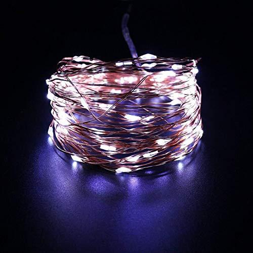 AOIWE - Guirnalda de luces LED (10 metros, 5 V, USB, RGB, 8 modos, impermeable, para decoración de Navidad, guirnalda de Navidad, luz de hadas (tamaño: blanco)