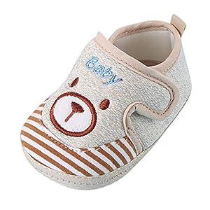Newborn Baby Toddler Kids Girls Boys Cotton Shoes Anti-Slip Cartoon Soft Sole Sneakers First Walking Shoes (Khaki, Age:0-3Months)