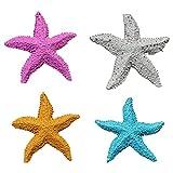 CIJK Starfish Artificial Realista Falso FakeStar Coral Ornamentos de Aquarium Decoraciones 4 PCS Adorno de simulación para Tanque de Peces