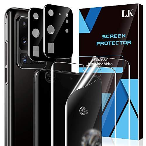 LK 4 Stück Schutzfolie Kompatibel mit Samsung Galaxy S20 Ultra,Kamera Schutzfolie & S20 Ultra Folie, Unterstützt Blitzaufnahmen & Fingerabdruck-ID, TPU Bildschirmschutzfolie, Vollständige Abdeckung