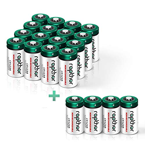 [ 20 Value Pack] Rapthor 1650mAh CR123A 3V Lithium Non-Rechargeable Battery UL Certified, 10 Year Shelf Life, PTC Protection 3V Batteries