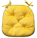 Yellow Thick Dining Chair Cushion with Ties Kitchen Seat Cushion Rocking U-Shaped Superior Breathable Comfort and Softness Cushion (4)