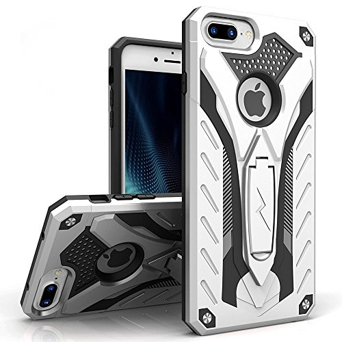 ZIZO Static Series Compatible with iPhone 8 Plus Case Military Grade Drop Tested with Kickstand iPhone 7 Plus iPhone 6s Plus Case Silver Black