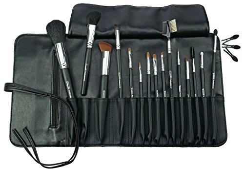 Fantasia Make Up Pinsel Set 14-teilig, Professionelles Pinselset Makeup mit 3 Ersatz Applikatoren, hochwertiges Schminkpinsel Set Naturhaar – in Kunstledertasche y, schwarz