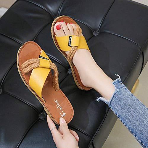 JXJ Zapatillas de cuerda de cáñamo para mujer al aire libre, sandalias planas casuales salvajes ligeros cómodos zapatos de playa