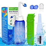 TONELIFE Sinus Rinse Kit 10oz+Moisturizing Nasal Pump Sprayer-Nasal Irrigation System-Nose Wash-Nose Cleaner 300ml Neti Pot-Sinus Wash Bottle with ON/Off Lock Button for Adult Kid (Without Nasal Salt)