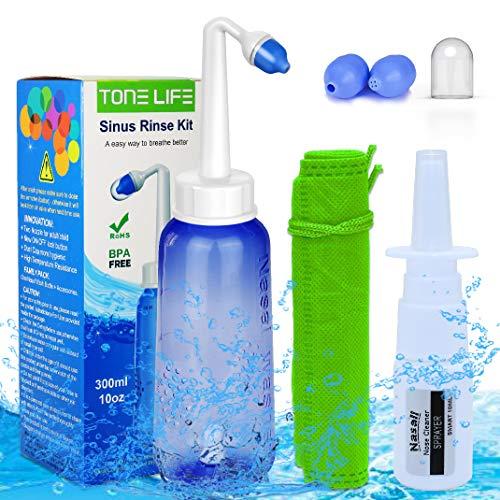 TONELIFE Sinus Rinse Kit 10oz+Moisturizing Nasal Pump Sprayer-Nasal Irrigation System-Nose Wash-Nose...