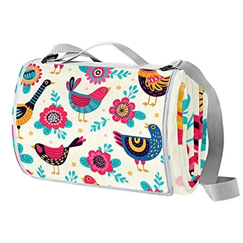 Manta de picnic portátil de 57 x 59 pulgadas, impermeable, para playa, camping, césped, música, festival, pollo, gallo floral