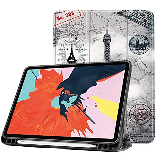 Case for New Ipad Air 4 10.9 Inch 2020 (4Th Generation) with Pencil Holder, Soft TPU Back And Trifold Smart Protective Cover with Auto Sleep/Wake,tower
