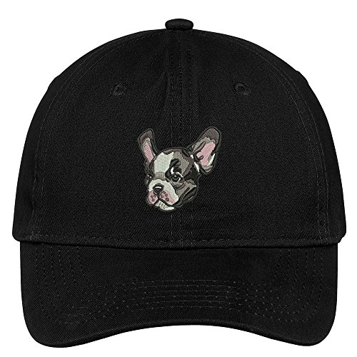 Trendy Apparel Shop French Bulldog Head Embroidered Low Profile Soft Cotton Brushed Cap - Black