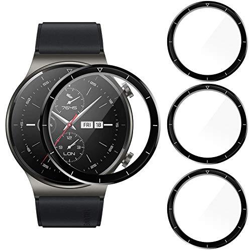 CAVN 3D Schutz Kompatibel mit Huawei Watch GT 2 Pro Schutzfolie Mit Skala [3-Stück], (Nicht für GT 2) Vollabdeckung 3D-Gebogene Bildschirmschutzfolie Anti-Kratzer Panzer Cover Schutzhülle für GT 2 Pro