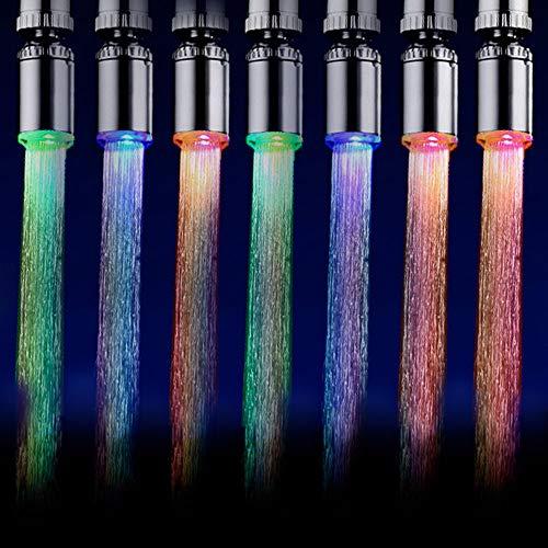 Lepeuxi Grifo de Agua LED Luz de Corriente de Agua Grifo de Agua móvil Automáticamente Múltiples Colores Que cambian Grifo de Agua para Cocina Baño