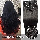 TESS Echthaar Extensions Clip in Haarteile guenstig Haarverlängerung Doppelt Tressen für komplette Haarextension 8 Teile 18 Clips Glatt 7A Dick Hair (60cm-170g, 1 Rabenschwarz)