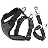 SlowTon Dog Car Harness Seatbelt Set, Pet Vest Harness with Safety Seat Belt for Trip and Daily Use Adjustable Elastic Strap and Multifunction Breathable Fabric Vest in Vehicle for Dogs