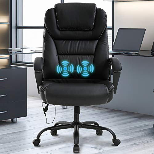 Big & Tall Home Office Chair Desk Chair Executive Chair 500LBS Ergonomic High Back Leather Computer Chair with Lumbar Support Headrest Massasge Height Adjustable Swivel Task Chair for Adult Women Men