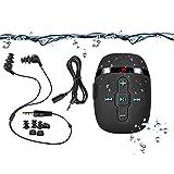 8GB防水MP3プレーヤー、水泳・ランニング対応、コードの短い水中ヘッドホン(3種類のイヤーバッド)、シャッフルモード付き1 (黒)