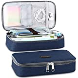 Homecube Big Capacity Pencil Case Pen Box Makeup Bag Pouch Holder Large Storage Stationery with Zipper for School Supplies Office College - Blue