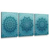 SUMGAR Mandala Wandbild Grün Blau Boho Kunstdruck