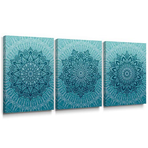 SUMGAR Blue Teal Boho Pictures Mandala Wall Art for Bedroom Flower Canvas Prints Floral Paintings Artwork Stretched and Framed on Canvas Living Room Bathroom Office Home Wall Decor 30x40cmx3 Pieces