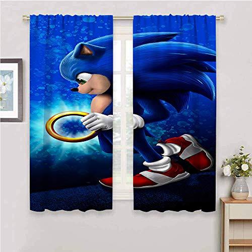 Cortinas con bloqueo de luz para sala de estar, cortinas de sonido para dormitorio de niños, cortinas opacas para recámara Sonic Tails (personaje) Nudillos, Sonic Force, poliéster, Color_02, W84' x L84'(214cm x 214cm)
