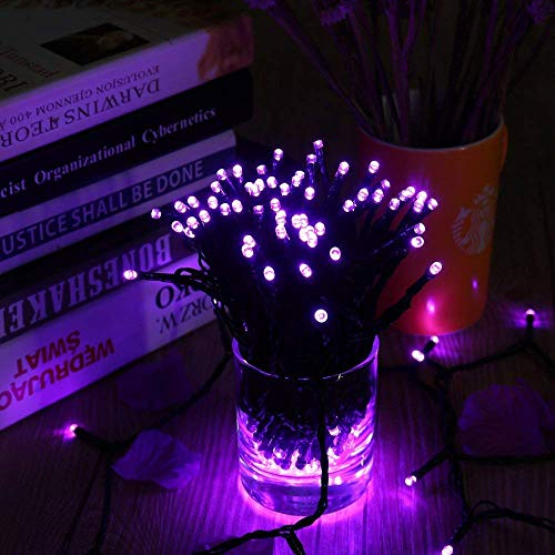 Lyhope Solar Halloween Lights, 72ft 200 LED 8 Modes Solar Christmas Lights Waterproof Decorative Fairy Lights for Garden,Patio,Home,Party,Holiday Outdoor Decor (Purple, 2 Pack)