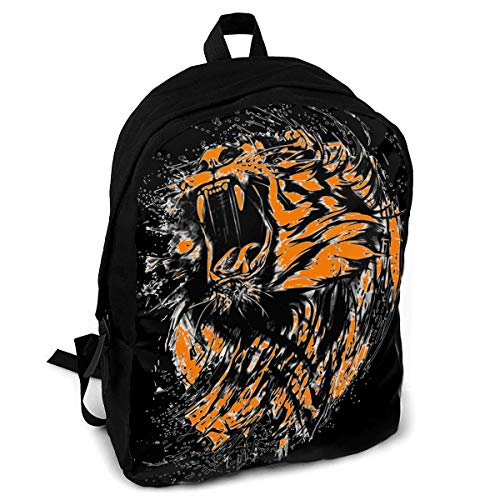 CZZD Black and Orange Neon Tiger Travel Laptop Backpack Schoolbags Men and Women On Campus