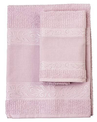 Filet - Set Asciugamani con Ospite | 100% spugna di cotone | Tinta unita | con Inserto in Tela Aida da Ricamare - Rosa