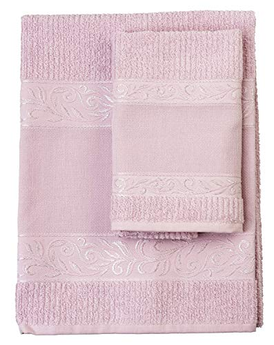 Filet – Juego de toallas de mano con invitados, 100% rizo de algodón, color liso, con inserto de tela Aida para bordar, color rosa