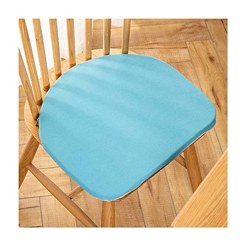 JLWM Cuscino per Sedia per Sedia da Pranzo, Cuscini per Sedie Tinta Unita Cotone Tessuto Spugna Cuscino da Pavimento con Cravatte Non-Scivolare Lavabile-blu-38x42cm(Arc Depth-1.5cm)