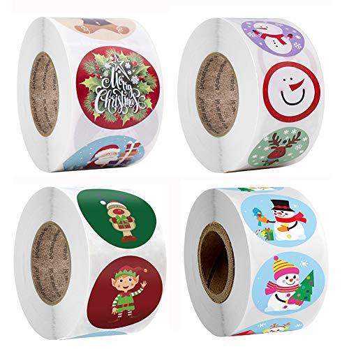 2000 piezas de pegatinas navideñas de papel kraft para regalo, rollo de pegatinas para árbol de Navidad, muñeco de nieve, copo de nieve, pegatinas navideñas para decoraciones navideñas, manualidades,