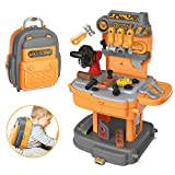Kuopry Kids Tool Set Toddler Toy Tool Set Kids Tool Bench 31pcs Simulation Props Preschool Educational Games 2 in 1 Engineer Role-Play Toy Backpack with Simulated Toy Chainsaw Gift for Boys & Girls