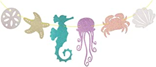 Seashell Banner Seahorse Jellyfish Seashell Crab Sea Star Glitter Banner for for Kid Birthday Party Decoration