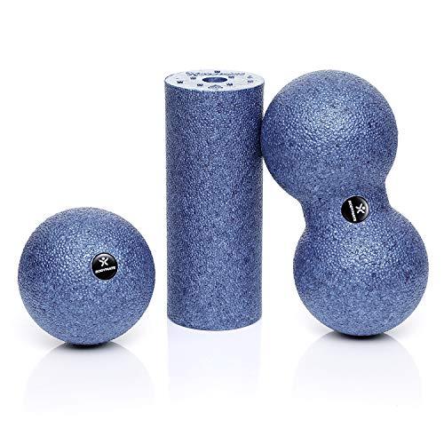BODYMATE Faszien Mini-Set Grau-Blau - Mini-Faszien-Rolle L15xD6cm, Ball D8cm und Duo-Ball D8cm im Set
