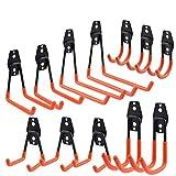 SJEhome 12 ganchos de pared de hierro resistente para herramientas de garaje, organizador de herramientas de masa, varios tamaños