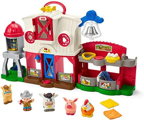 Fisher-Price - Little People Granja Animales Felices con tecnología Smart Stages, Luces y Sonidos, Juguete para niños de 1 años GTM15