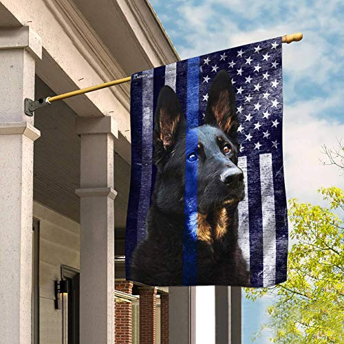 Flags-Police Dog. K9. The Thin Blue Line Flag THB2220F, House Flag (29.5' x 39.5')-USA House Garden Flags Premium Polyester-Decorative Outdoor Flags