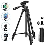 53-Inch Phone Tripod,Lightweight and Stability Tripod for iPhone,Android Phone,Gopro,DSLR Cameras,Mirrorless Cameras,with Bluetooth Remote Control,Phone Tripod Mount,Carrying Bag.