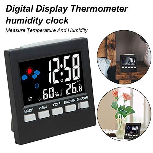 SanyaoDU LCD-display multi-functionele digitale thermometer-hygrometer-klokzender LCD-alarm kalender weerstation Forecast weergave