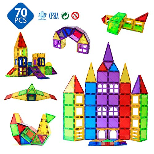MAGBLOCK Magnetic Blocks - Magnetic Toys for Toddlers Kids Magnetic Building Blocks Preschool Magnet Set Magnetic Stem Toys 70 Pieces