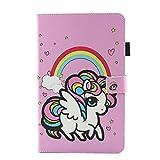 Lspcase Funda Samsung Galaxy Tab A6 Libro Leather Inteligente Flip magnético Cierre Funda de protección Wallet Back Cover para Samsung Galaxy Tab A6 10.1 Pulgada SM-T580 SM-T585 Unicornio Arcoiris