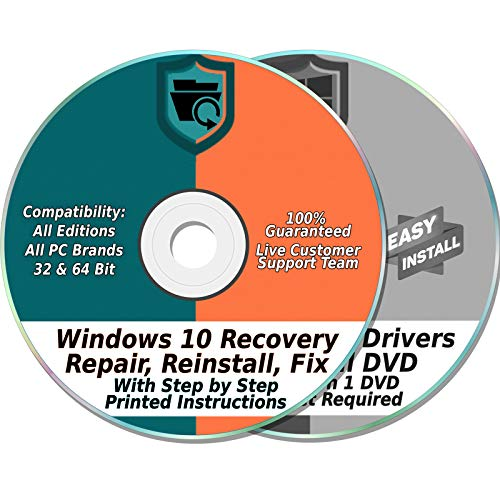 Ezalink Recovery Disc Set Compatible w/ Windows 10 Home & Professional 32 & 64-Bit Install, Restore, Repair, Boot, Fix with Drivers 2 DVD Set {All PC Brands}