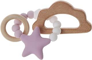 Biuuu 赤ちゃん看護ブレスレットシリコーンおしゃべりルース咀嚼歯ガラガラ玩具おしゃぶりモンテッソーリブレスレット (パープルクラウド)