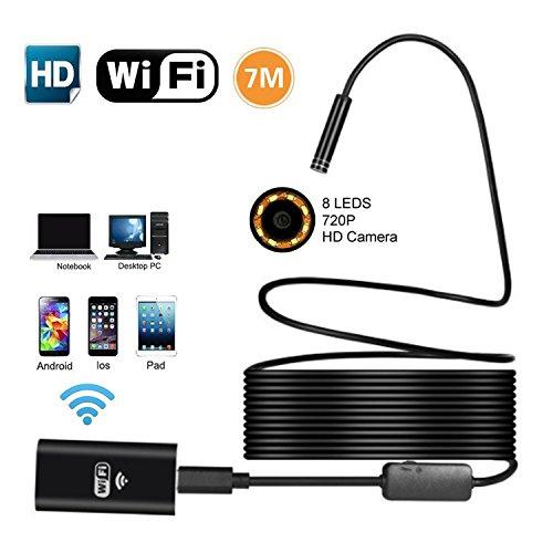 WiFi Wireless Endoskop,SUAVER 8 LED verstellbare WiFi Endoskopkamera wasserdichte Inspektionskamera ,2MP 720P HD Snake Kamera for Smartphone,Mac,Wnidows,Tablet,PC(7M)