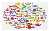 ABAKUHAUS Dibujos Animados Tapete, Coloridos Peces de Acuario, Decorativo con Fieltro de Poliéster Estampado Base Antideslizante, 45 cm x 76 cm, Multicolor