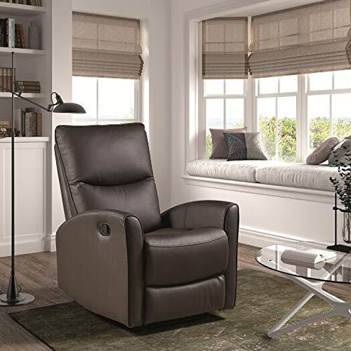 Sillón con función Relax y Sistema eléctrico tapizado en Piel/PVC en Color Chocolate Modelo FERROL