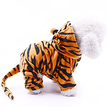 Dr.NONO Tiger Costume - Cosplay Costume for Small Dogs and Cats - Yellow and Black Velvet Pet Clothes - Warm Apparel Winter Pet Tiger Costume - Dog Outfits for Christmas Cosplay and Birthday Parties