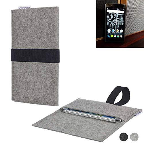 flat.design Handy Hülle Aveiro für Kodak Ektra passgenau Handytasche Filz Tasche Etui Case fair schwarz hellgrau
